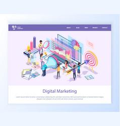 digital marketing workers with megaphone website vector image