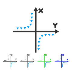 Dotted hyperbola plot flat icon vector