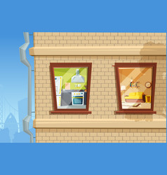 fragment of living house facade with various vector image