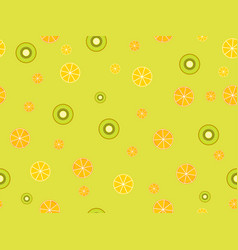 Fruit seamless background with oranges kiwi vector