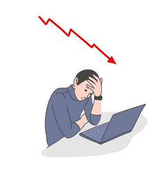 frustrated man with falling chart behind vector image