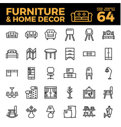 furniture and home decor outline icon vector image