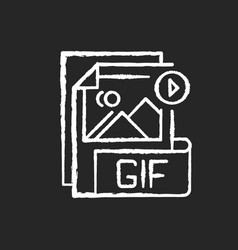 Gif file chalk white icon on black background vector