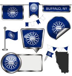 Glossy icons with flag buffalo ny vector