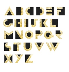 Gold Geometric Retro Alphabet Art deco style Type vector image