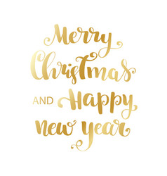 gold happy new year brush lettering text vector image