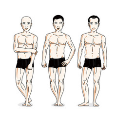 handsome men posing in black underwear people set vector image