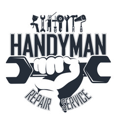 Handyman with a tool symbol vector