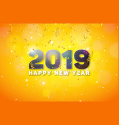 happy new year 2019 with 3d number on vector image