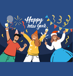 happy people celebrate new year at home vector image
