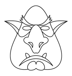 Head of troll icon outline style vector