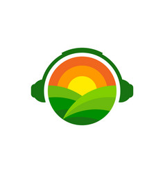 Headphone farm logo icon design vector