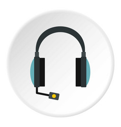 headphones with microphone icon circle vector image
