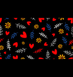 hearts and floral elements background vector image