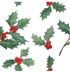 Holly watercolor seamless pattern vector