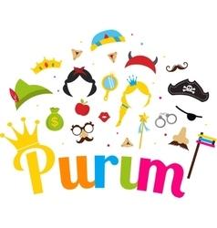 Jewish holiday Purim set of costume accessories vector