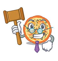 Judge seafood pizza above cartoon board vector