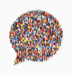 large group people in chat bubble shape vector image