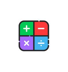 Linear color math symbol icon vector