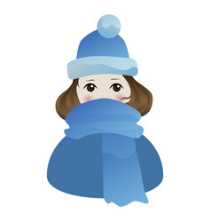 Little shyly girl in blue hat and scarf vector
