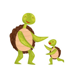 little turtle running towards his dad adorable vector image