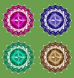 mandala set symbol four colors vector image