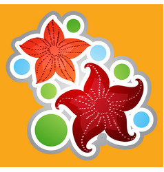 Marine red stars in a cartoon style sticker for vector