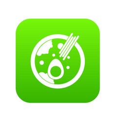 Miso soup icon digital green vector