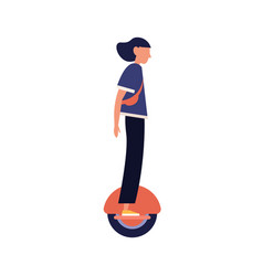 modern girl riding electric unicycle monocycle vector image