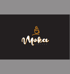 Moka word text logo with coffee cup symbol idea vector