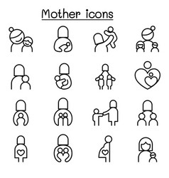 mother icon set in thin line style vector image
