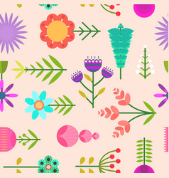 naive pink pattern with flat simple color flowers vector image
