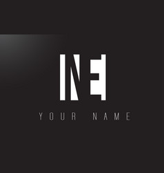 Ne letter logo with black and white negative vector