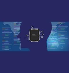 neuralink technology concept bionic human brain vector image