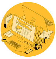 office and coworking workplace vector image