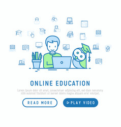 Online education student learning on laptop vector