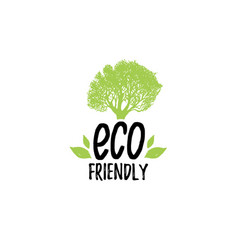 Organic food logo eco friendly hand lettering vector