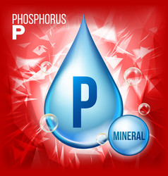 p phosphorus mineral blue drop icon vector image