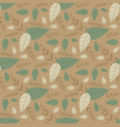 pastel seamless floral pattern with cartoon leaves vector image