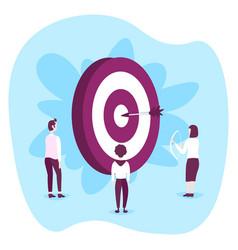 people standing around target arrow successful vector image