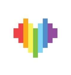 Pixel art style rainbow homosexual heart vector