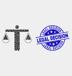 pixelated judge icon and grunge legal vector image