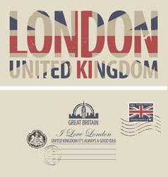 Postcard with flag of great britain vector