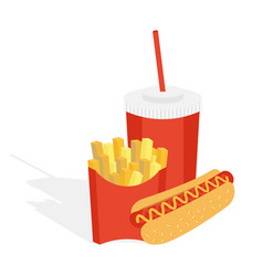 Potatoes fries in a red carton vector