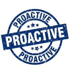 Proactive blue round grunge stamp vector