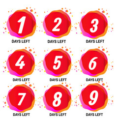 Promotional banner with number days left signs vector