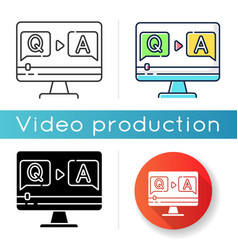 Question and answer video icon vector
