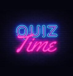 Quiz time neon sign quiz pub design vector