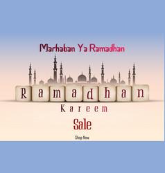 ramadan kareem sale with line mosque and lantern vector image