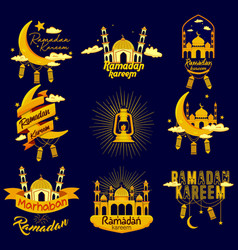 ramadhan islamic badge logo set collection vector image